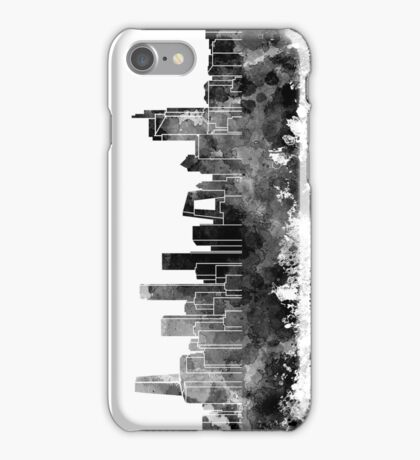 Beijing skyline in black watercolor on white background iPhone Case/Skin