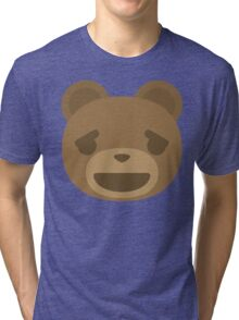 Emoji Teddy Bear Relieved Happy Look Tri-blend T-Shirt