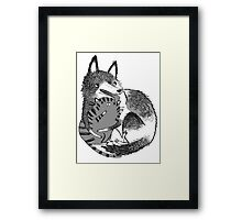 husky loves kitty Framed Print