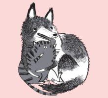 husky loves kitty Kids Clothes