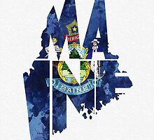 Maine Typographic Map Flag by A. TW