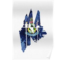 Maine Typographic Map Flag Poster