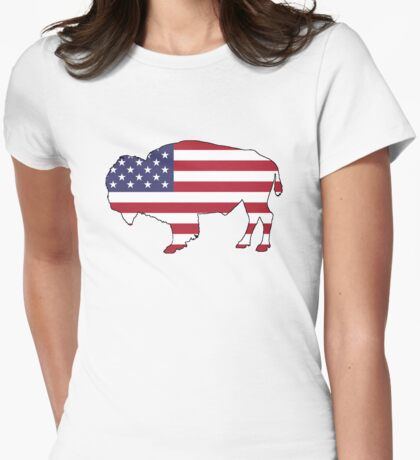 American Flag – Bison Womens Fitted T-Shirt
