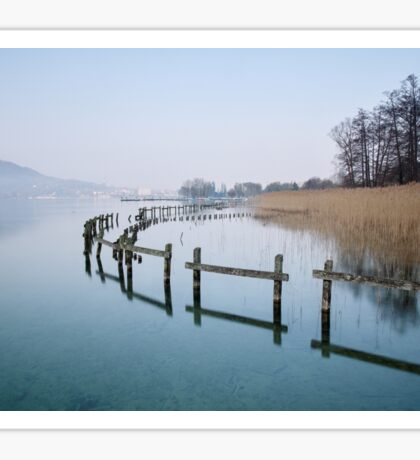 Annecy, a winter morning at the lake Sticker