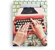 Royal hands on keyboard Collage Paper Canvas Print