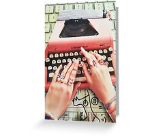 Royal hands on keyboard Collage Paper Greeting Card