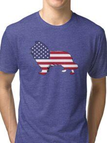 American Flag – Border Collie Tri-blend T-Shirt