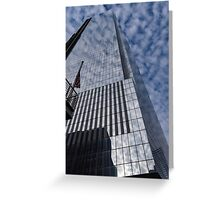 Silver and Blue - Glass Skyscrapers and Cloud Puffs Greeting Card