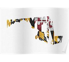 Maryland Typographic Map Flag Poster