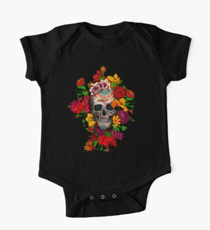 Day of the dead sugar skull with flower One Piece - Short Sleeve