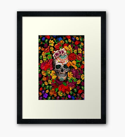 Day of the dead sugar skull with flower Framed Print