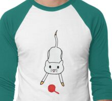 Playful Cat (White) Men's Baseball ¾ T-Shirt