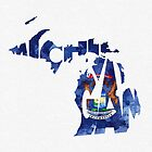Michigan Typographic Map Flag by A. TW