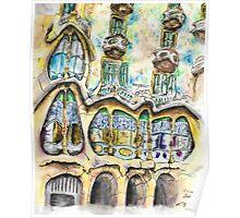 Casa Batllo - Watercolour & Pen Poster