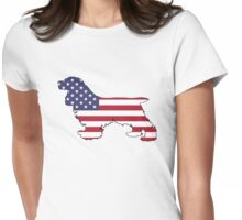 American Flag – Cocker Spaniel Womens Fitted T-Shirt