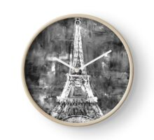 Eiffel Tower Black and White Clock