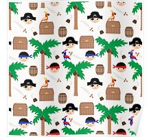 Seamless pirate colorful kids retro background pattern Poster