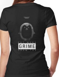 """ATROPHY COLLECTIVE - """"Eat More Grime"""" DJ Penguin Exclusive Womens Fitted T-Shirt"""