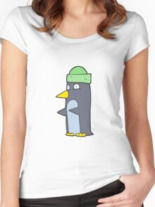 cartoon penguin wearing hat Women's Fitted Scoop T-Shirt