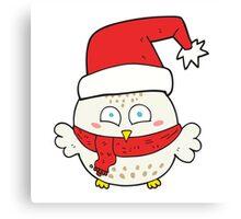 cartoon cute christmas owl Canvas Print