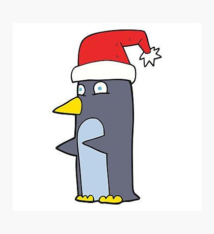 cartoon christmas penguin Photographic Print