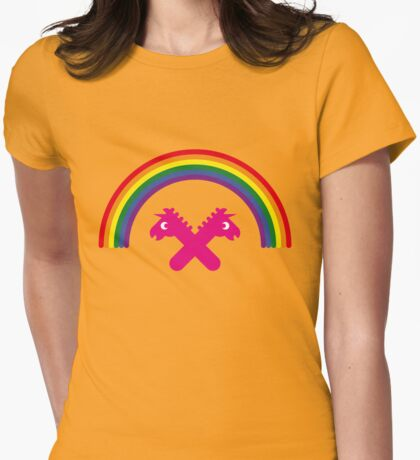 Unicorns Under The Rainbow Womens Fitted T-Shirt