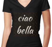 ciao bella 1 (hi beautiful) Women's Fitted V-Neck T-Shirt