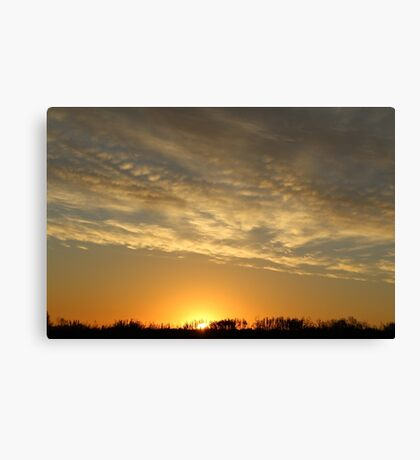 Midewest Nebraska Sunrise with Lines of Clouds Canvas Print