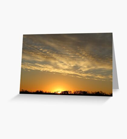 Midewest Nebraska Sunrise with Lines of Clouds Greeting Card