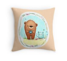 Furry Friends - Coffee Bear & Confused Kitty Throw Pillow