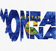 Montana Typographic Map Flag by A. TW