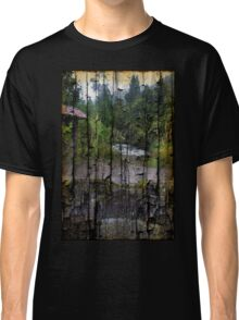 Rushing Cascade In The Andes - On Bark Classic T-Shirt