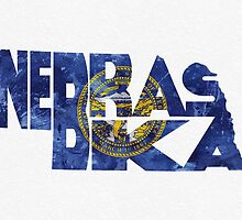 Nebraska Typographic Map Flag by A. TW
