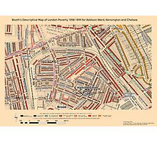 Booth's Map of London Poverty for Addison Ward, Kensington & Chelsea Photographic Print