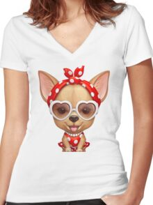 Chihuahua in the Guise of a Retro Beauty Women's Fitted V-Neck T-Shirt