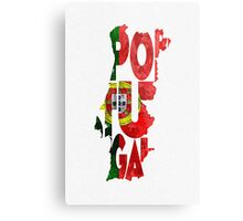 Portugal Typographic Map Flag Metal Print