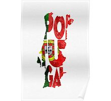 Portugal Typographic Map Flag Poster