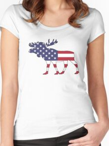 American Flag – Moose Women's Fitted Scoop T-Shirt