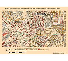 Booth's Map of London Poverty for Abingdon Ward, Kensington & Chelsea Photographic Print