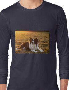 border collie at sunset Long Sleeve T-Shirt