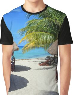 Cozumel Mexico Beach Hut Palm Tree Teal Water Vacation Graphic T-Shirt