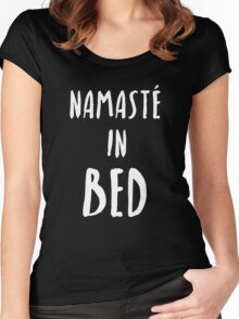 """Funny Yoga T-Shirt """"Namaste In Bed"""" Women's Fitted Scoop T-Shirt"""