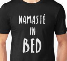 """Funny Yoga T-Shirt """"Namaste In Bed"""" Unisex T-Shirt"""