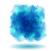 Blue Smoky Square Water Painted Cloud on White Background by amovitania