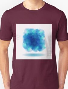 Blue Smoky Square Water Painted Cloud on White Background Unisex T-Shirt