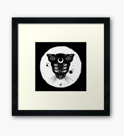 Black (Moon) Cat Framed Print