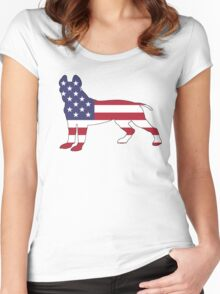 American Flag - Pit Bull Terrier Women's Fitted Scoop T-Shirt
