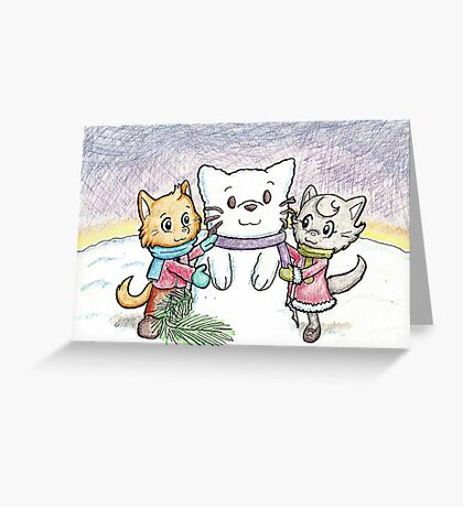 Snowcat and Kittens Greeting Card