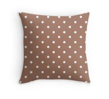 Polka dots, modern,trendy,pattern,brown,white,cute,girly Throw Pillow