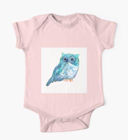 Sweet watercolor owl. Funny blue bird. One Piece - Short Sleeve
